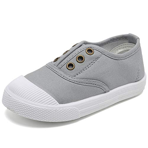 CIOR Kids Canvas Sneaker Slip-on Baby Boys Girls Casual Fashion shoes-Gray-29