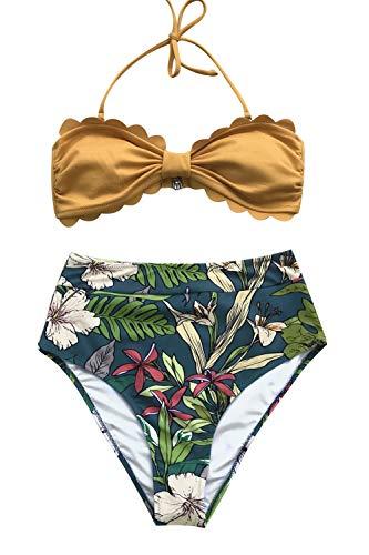 CUPSHE Gelb und Blumentropisch Druck High Waist Bikini, Mehrfarbig, M
