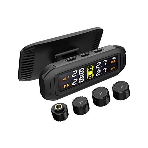 QOTSTEOS Sistema de monitoreo de presión de neumáticos con energía Solar TPMS, 6 Modos de Alarma, Pantalla LCD de Voz Inteligente con 4 sensores TMPS externos (0-8 Bar)
