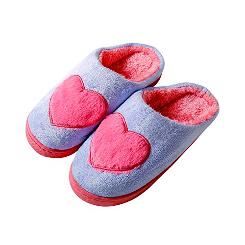 Damen Herren Plüsch Baumwolle Pantoffeln Memory Sohl Hausschuhe rutschfeste Slippers Für Unisex,Rosa,S