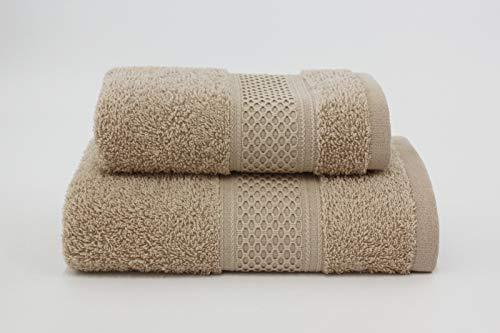 Asciugamano da bagno, Set di due asciugamani da bagno Viso e Ospite 100% cotone, morbide al tatto. Spugna di alta qualità proveniente da Portogallo peso 340gr/mq . (Nocciola)