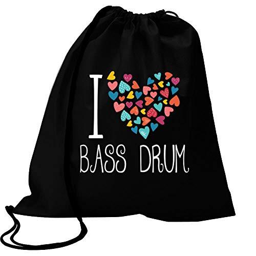 "Idakoos I Love Bass Drum Colorful Hearts Turnbeutel 18\"" x 13\"""