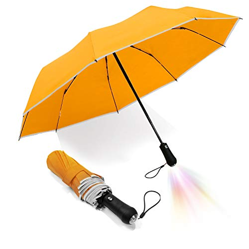 LEAGERA Travel Automatic Folding Umbrella Led Flashlight Handle - 9Ribs Fiberglass Safety Reflective Outside Trim For Ladies(Yellow)