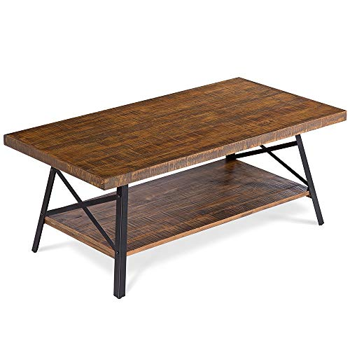 Olee Sleep 46' Cocktail Wood & Metal Legs Coffee Table, Rustic Brown