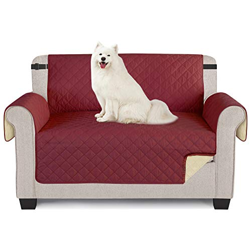 TAOCOCO Sofa Protector, 100% Waterproof Sofa cover,Cover 2 Seater,Chair Slipcovers,Slip Cover for Dogs,Washable Sofa Cover Protect for Pets,Sofa Slipcover with Elastic Strap(2 Seater/Loveseat, Red)