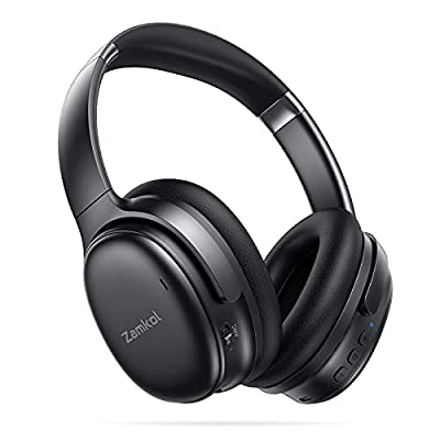 Zamkol Noise Cancelling Wireless Headphones, Bluetooth 5.0 Headphones Over Ear with 30 Hours Playtime, CVC 8.0 Microphone, 1 Hour Quick Charge, Stereo Sound, for Travel, Work, Plane-Black from Zamkol