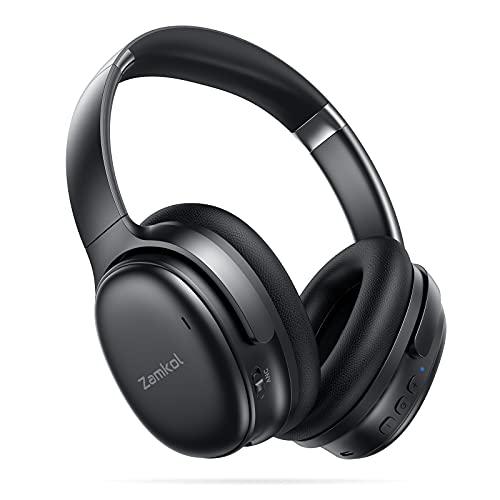 Zamkol Bluetooth Kopfhörer mit Noise Cancelling,Kabellos Headphones Over Ear mit 30h Akku,CVC 8.0 HD Mikrofon,Qualcomm QCC3005 Chip,Faltbar for Homeoffice,Reisen,Arbeit,Flugzeug,Gaming