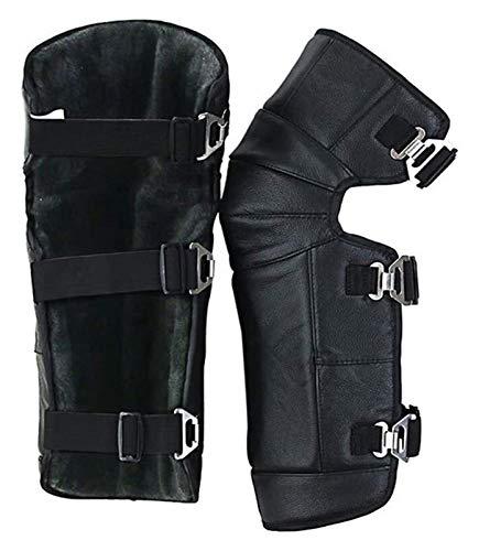yxx Magnetfeld-Kniepolster 1 Paar Motorrad-Reiten Knieschützer Pads, Leder verstellbare Riemen warme Gamaschen-Abdeckungen Unisex for Winter-Wind Schnee-Fahrrad-Motorrad-Reiter
