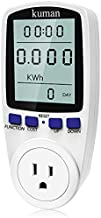 kuman KW47-US Electricity Usage Monitor Plug Power Watt Voltage Amps Meter with Digital LCD, Overload Protection and 7 Display Modes for Energy Saving (NO-Backlight), white