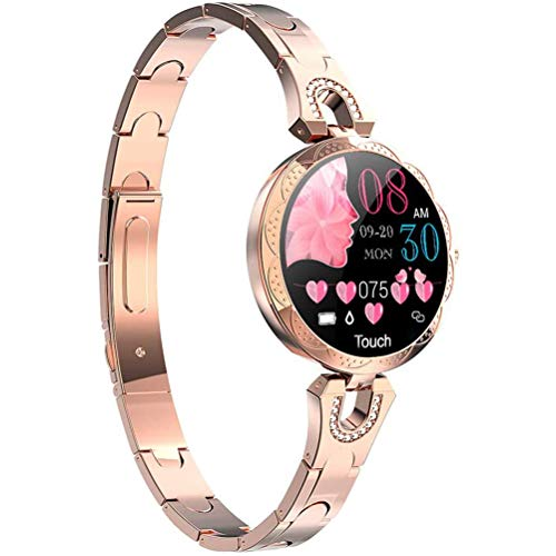 HJKPM Frauen Smartwatch, IP67 Wasserdichter Multi-Sport-Modus Mode Smart Watch Mit Herzfrequenz Blutdruck Physiologische Periode Überwachungsfunktion,Gold