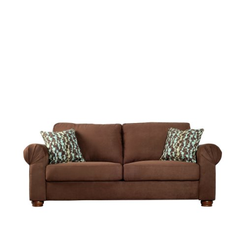 Hot Sale Handy Living OXF1-S10-AAA89 Oxford Transitional Rolled Arm Microfiber Sofa, Dark Brown With 2 Decorative Orbit Brown & Blue Throw Pillows