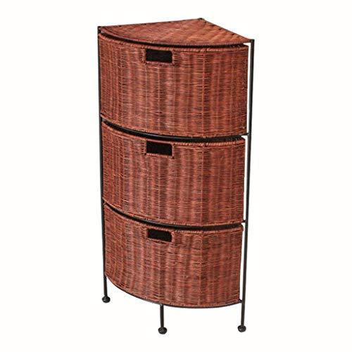 Casier de couture en rotin Armoire de salon Boîte de rangement de type tiroir Armoire de salle de bain Armoire d'angle Tablette (Couleur : B)