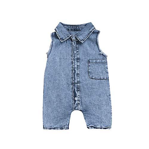 Elecenty Jeans Babyartikel,Neugeborenes Kinderkleidung Umlegekragen Strampler Spielanzug Ärmellos Babyausstattung Mädchen Romper Junge Taschen Babybodys Bodysuit Kindermode