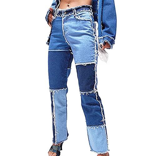 LIZONGFQ Los Pantalones Vaqueros de Cintura Alta de Las Mujeres Acampanadas Pantalones Vaqueros Rotos Bel Bel Fund Color Patch Patchwork Pantalones recortados Capris,4,M
