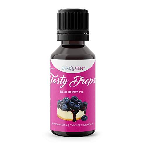 GymQueen Tasty Drops 30ml | Kalorienfreie, Zuckerfreie und Fettfreie Flavour Drops | Aroma Tropfen zum Süßen von Lebensmitteln | Geschmackstropfen ohne Künstliche Farbstoffe I Blueberry Pie