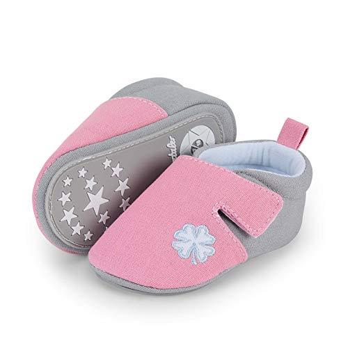 Sterntaler Baby-Krabbelschuhe für Mädchen, Rutschfeste Sohle, Klettverschluss, Kleeblatt-Motiv, Farbe: Rosa, Größe: 15/16, Art.Nr.: 2302164.0
