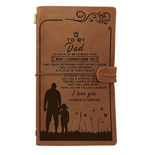 Engraved Leather Notebook To My Dad Gifts- Hand-Crafted Genuine Leather Journal for Travel Diary Journal Sketch Book - Perfect Anniversary Christmas For Dad Gifts