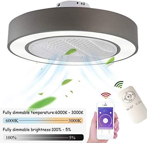 Deckenventilator mit Beleuchtung LED Ventilator Deckenleuchte, dimmbar mit Fernbedienung, einstellbarer Windgeschwindigkeit, 72W moderner kreativer Ultra Quiet Wohnzimmer Schlafzimmer Fan-Lampe (ø55cm