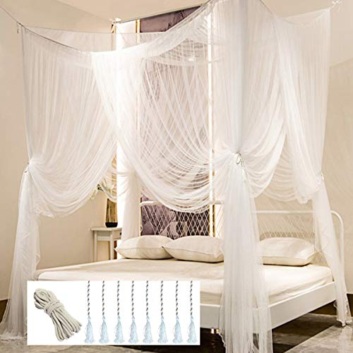 Mosquito NET for Bed Canopy, Four Corner Post Curtains Bed Canopy Elegant Mosquito Net Set, Stick Hook &Profession Rope for net, Screen Netting Canopy Curtains, Full/Queen/King/White