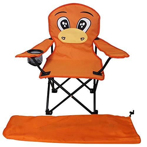 Kinder Anglersessel Orange Campingstuhl Faltstuhl Anglerstuhl Motiv Maulwurf mit Getränkehalter und Tasche