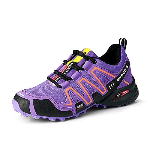 CHUIKUAJ Zapatillas de Ciclismo Zapatillas de Bicicleta de Carretera para Mujer Zapatillas de Bicicleta de Montaña Zapatillas de MTB,Zapatos para Correr Casuales,Purple-42EU