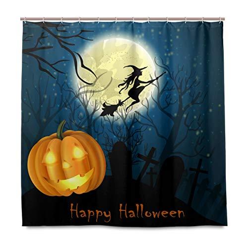 Wamika Herbst Halloween Kürbis Badezimmer Duschvorhang, Heimdeko, Hexe auf dem Vollmond Design, langlebiger Stoff, schimmelresistent, wasserfest, mit 12 Haken, 183,0 cm x 183,0 cm