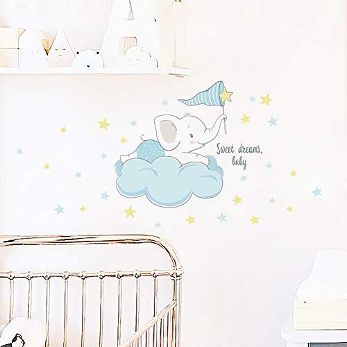 Elefante De Dibujos Animados En Las Nubes Pegatina De Pared Para Niños Habitación De Bebé Dormitorio Decoración Del Hogar Papel Tapiz Autoadhesivo Pegatinas De Animales Lindos