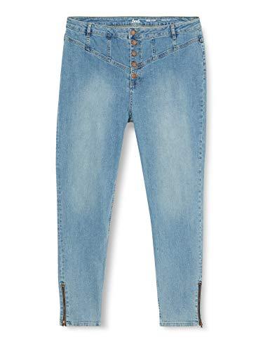 Marque Amazon - find. Jean Skinny Femme, Bleu (Blue Blue), 32W / 32L, Label: 32W / 32L