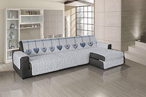 Smartsupershop Housse de canapé avec méridienne matelassée – Cœurs bleus – Dimensions 280 – 285 cm (d'accoudoir à accoudoir) – Applicable aussi bien à droite qu'à gauche – Produit fabriqué en Italie