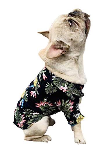 PP&DD ペット 犬服 ドッグウエア 犬の服 シャツ アロハシャツ 可愛い かっこいい 涼しい 爽やか パイナップルお出かけ パーカー (FB, ブラックパイナップル)