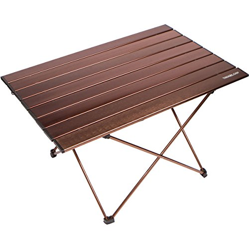 Trekology Portable Camping Side Tables Aluminum Table Top: Hard-Topped Folding Table in a Bag Picnic, Camp, Beach, Boat, Useful Dining & Cooking Burner, Easy to Clean (Brown, Large)