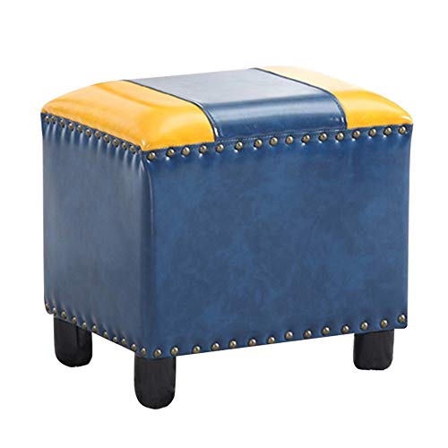 KST Footstool Solid Wood Ottoman Stool, PU Leather Sofa Tea Stool Change Shoes Bench Footrest Stepstool Padded Seat Wooden Legs, Retro Rivet Design, for Living Room Bedroom, Blue