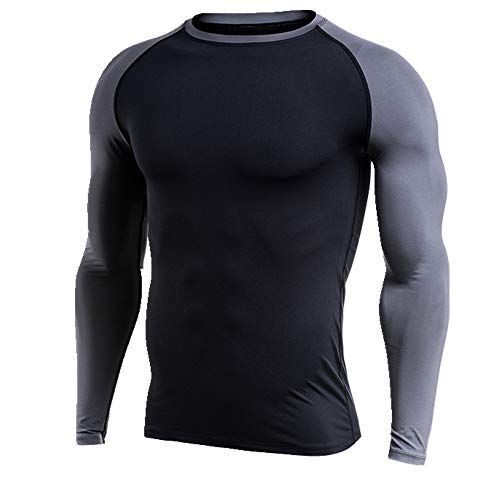 NOBRAND Langarm Fitness Shirt Tight Laufanzug und Fat Gr. 6XL, Grau 1