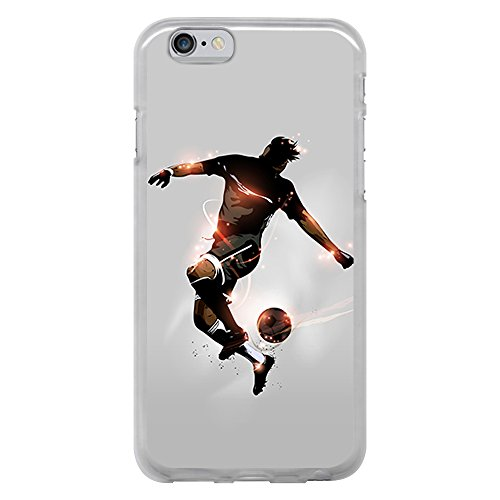 BJJ SHOP Custodia Trasparente per [ iPhone 6 6S ], Cover in Silicone Flessibile TPU, Design: Calciatore con Palla e lampi di Luce