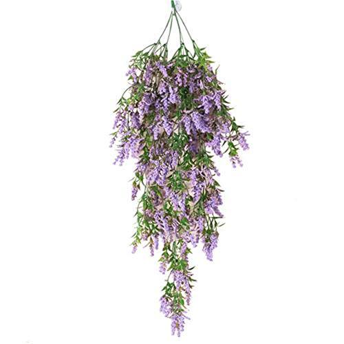 FANFX 2 Pack 3.6 Feet Artificial Fake Wisteria Vine Ratta Hanging Garland Silk Flowers String Home Party Wedding Decor (purple)