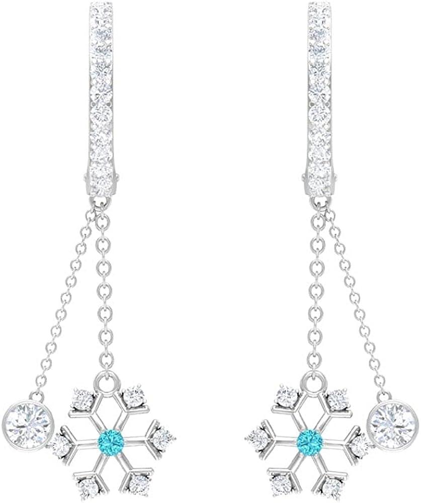 3/4 CT Chain Dangle Earrings with Swiss Blue Topaz and Diamonds (AAA Quality), Screw back