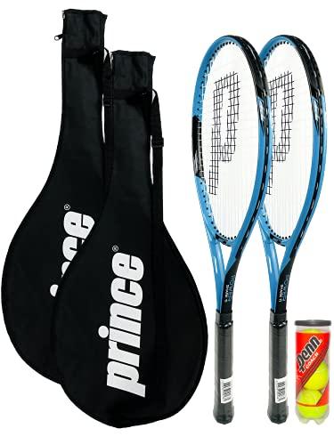 Prince Power Shark Ti - Raqueta de tenis para adultos, incluye 2 fundas protectoras con correa de transporte y 3 pelotas de tenis