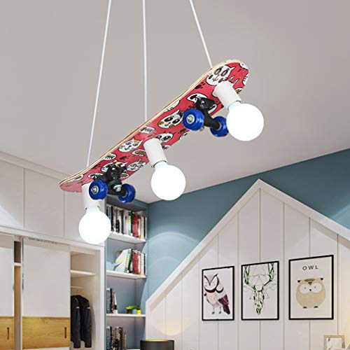 Modern Skateboard Kinderlampe kreative dekorative Licht, Kinderzimmer Pendelleuchte Höhenverstellbar LED Pendellampe Personalisierte Hängeleuchte für Kinderzimmer Schlafzimmer E27 * 3,B