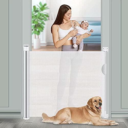 KYG Türschutzgitter Roll Treppenschutzgitter aus Alu Treppengitter 0-129.54 cm für Babys&Haustiere Geeignet für Treppen/Türen/Flure, Abziehbar, Silber