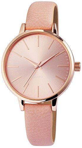 Excellanc Damen – Uhr Lederimitation Armbanduhr Analog Quarz 1900109 (Rosa)
