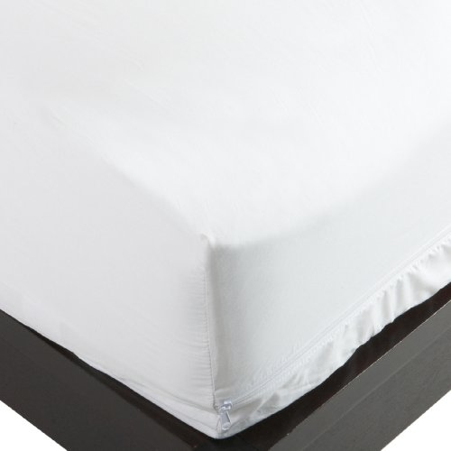 National Allergy 300 thread count 100-Percent Cotton Bed Bug, Dust Mite & Allergy Control Mattress Protector, Queen 12-Inch White