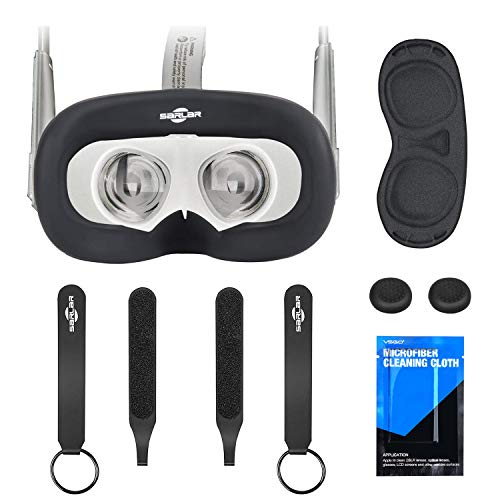 Face Silicone Cover Mask & Face Pad & Knuckle Strap & Lens Protect Cover Set for Oculus Quest, Professional Silicone Protection Accessories,6-Piece Set