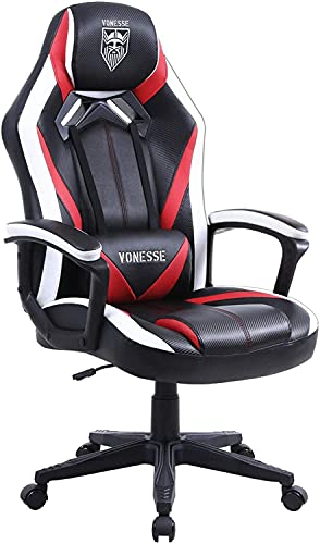 Vonesse Ergonomischer Computerstuhl mit Massage, Gaming Stuhl für Erwachsene, Bürostuhl aus Kohlefaser Leder, Großer Schreibtischstuhl mit Armlehne, Hohe Rückenlehne PC Stuhl für Gamer (Rot
