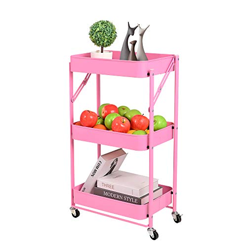 3Layer Movable and Foldable Metal Storage Cart with Wheels Without InstallationPink1771Lx1161Wx2834H