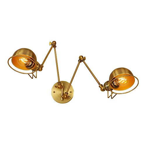HWJF Lampe de Mur réglable en Or rétro de Style Industriel en Fer forgé à Double tête à Long Bras de Lampe Murale à Bras articulé avec Support de Lampe 13.5 * 20 * 20cm