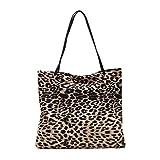 TENDYCOCO bolso de mano de mujer bolso de leopardo bolso de compras bolso de mano de leopardo retro bolsa de almacenamiento de gran capacidad - caqui