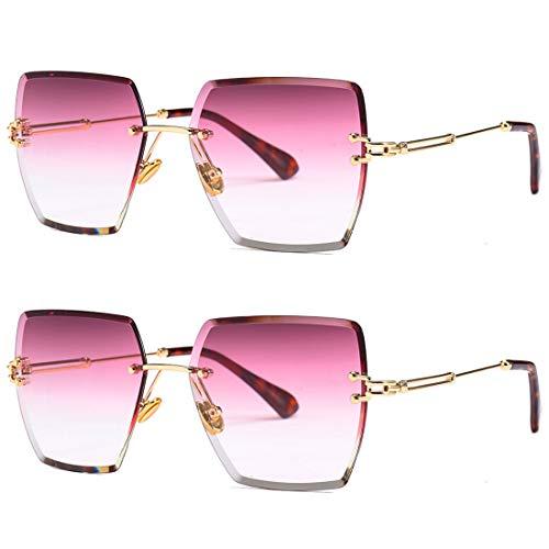 HFSKJ Paquete de 2 Gafas de Sol, Gafas de Sol cuadradas sin Montura, Gafas de Sol de Color Degradado, Gafas de Moda,C