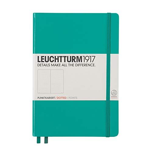 LEUCHTTURM1917 (344792) Carnet Medium (A5) couverture rigide, 249 pages numérotées, pointillés, émeraude