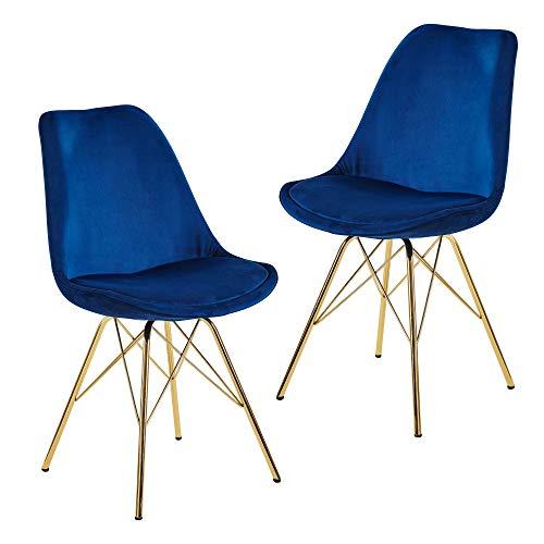 FineBuy Esszimmerstuhl 2er Set Samt Blau Küchenstuhl mit goldenen Beinen | Schalenstuhl Skandinavisches Design | Polsterstuhl mit Stoffbezug | Stuhl Gepolstert