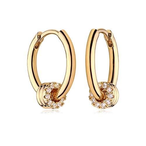 MYEARS Women Gold Huggie Earrings Hoop Triple Split Stripe Band Diamond Cubic Zirconia Dangle 14K Gold Filled Small Boho Simple Delicate Hypoallergenic Jewelry Gift
